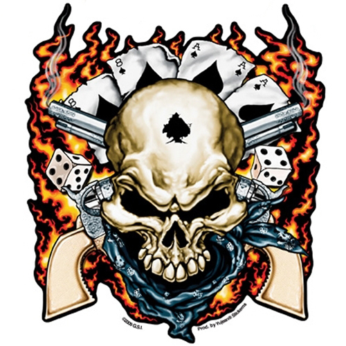 Dead Man Skull Amp Guns Flammen Poker Totenkopf Decal
