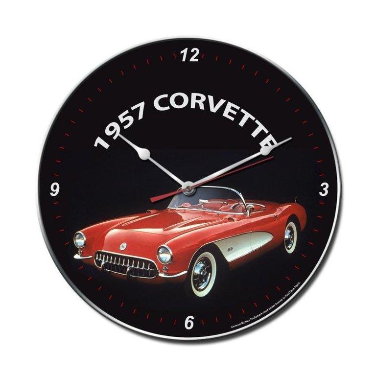 1957 chevy chevrolet corvette logo vintage uhr wanduhr. Black Bedroom Furniture Sets. Home Design Ideas