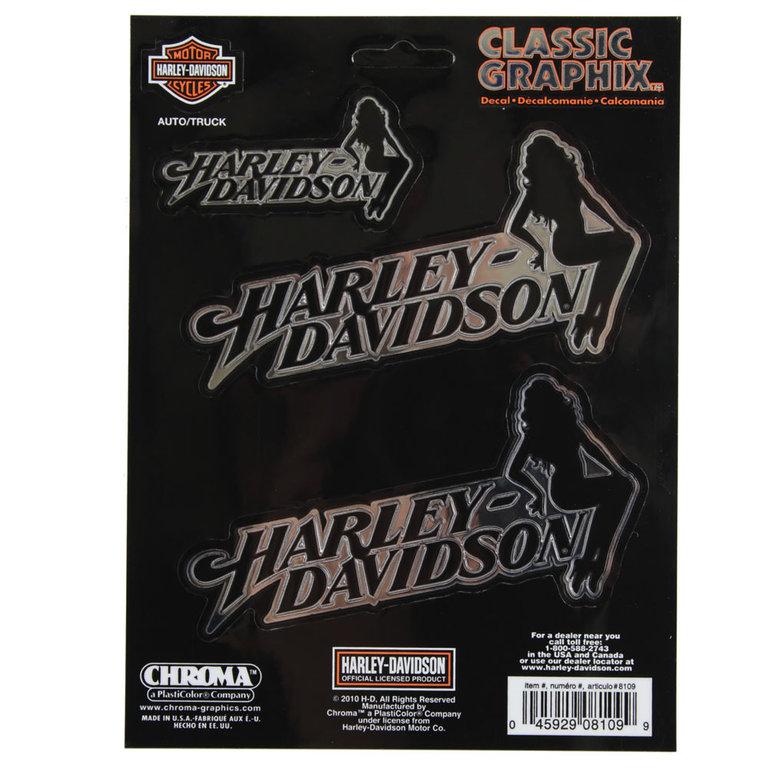 biker harley davidson hd sitting lady emblem aufkleber. Black Bedroom Furniture Sets. Home Design Ideas