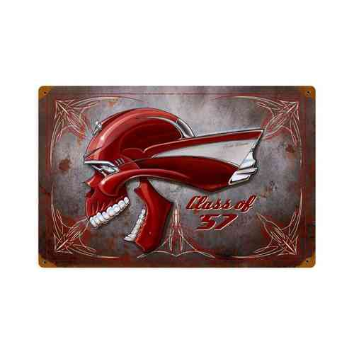 """Chevy Skull Class Of 57"" Blechschild - Metal Sign"