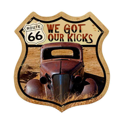 Route 66 Rusty Blechschild - Metal Sign