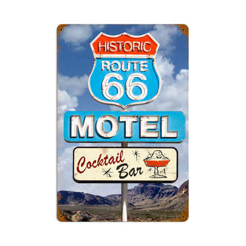 Route 66 Cocktail Blechschild - Metal Sign