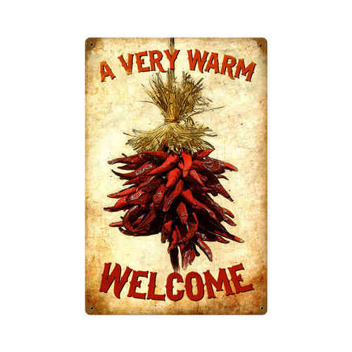 Welcome Chilies Blechschild - Metal Sign