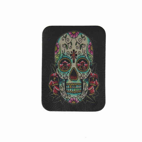 Day Of The Dead White Rose Skull Leather Patch - Echt Leder Aufnäher