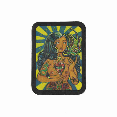 Day Of The Dead Dream Girl Leather Patch - Echt Leder Aufnäher