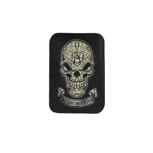 Day Of The Dead B/W Banner Leather Patch - Echt Leder Aufnäher