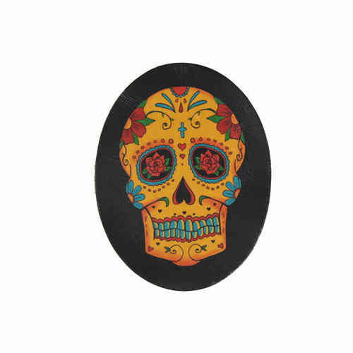 Day Of The Dead Orange Skull Leather Patch - Echt Leder Aufnäher
