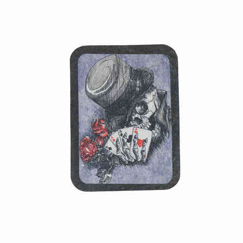 Magician Skull Leather Patch - Echt Leder Aufnäher