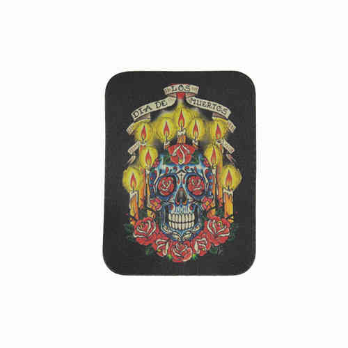 Candle Skull Leather Patch - Echt Leder Aufnäher