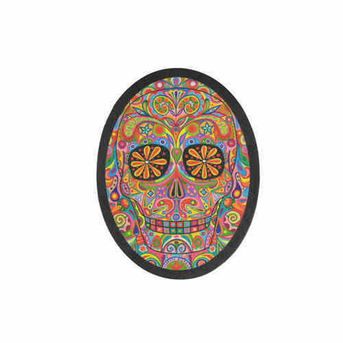 Rainbow Skull Leather Patch - Echt Leder Aufnäher