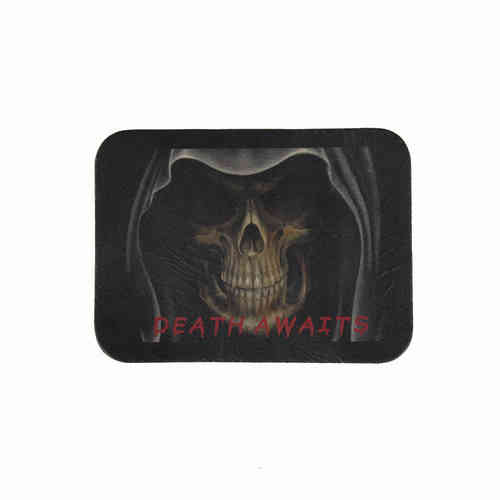 Death Awaits Leather Patch - Echt Leder Aufnäher