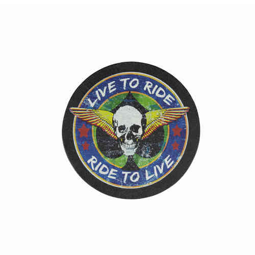 Live To Ride Winged Skull Leather Patch - Echt Leder Aufnäher