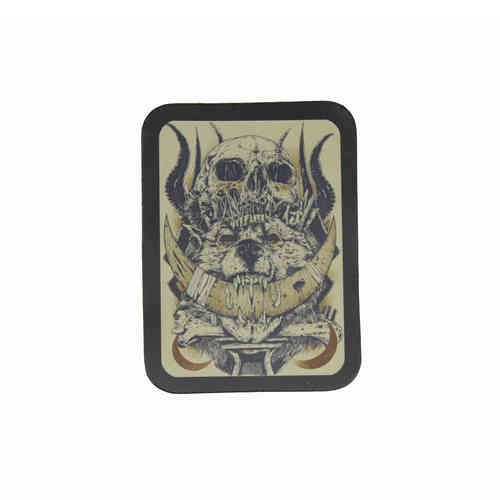 Skull Wolf Leather Patch - Echt Leder Aufnäher