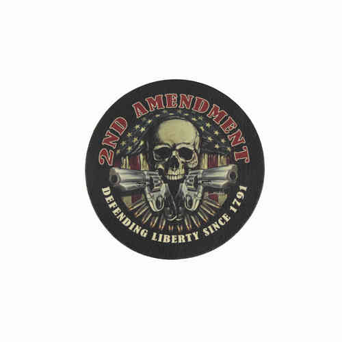 2nd Amendment Skull Leather Patch - Echt Leder Aufnäher
