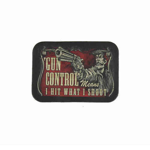 Gun Control Means… Leather Patch - Echt Leder Aufnäher