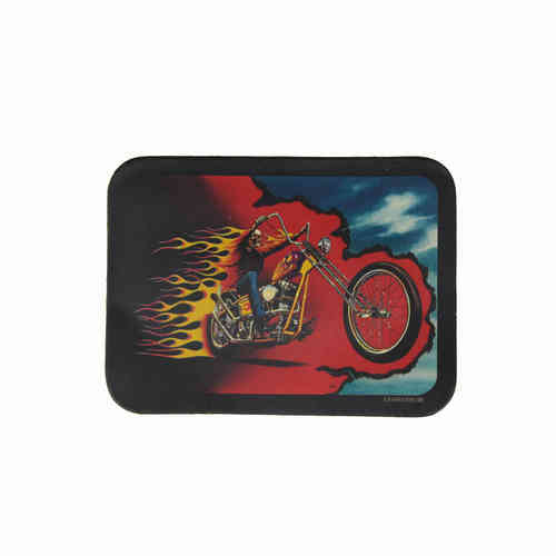 Fire Skull Biker Leather Patch - Echt Leder Aufnäher