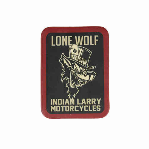 Indian Larry Lone Wolf Leather Patch - Echt Leder Aufnäher