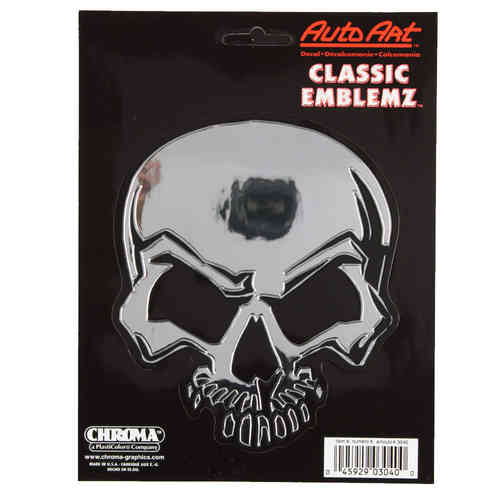 Mean Skull Chrom Aufkleber/Decal