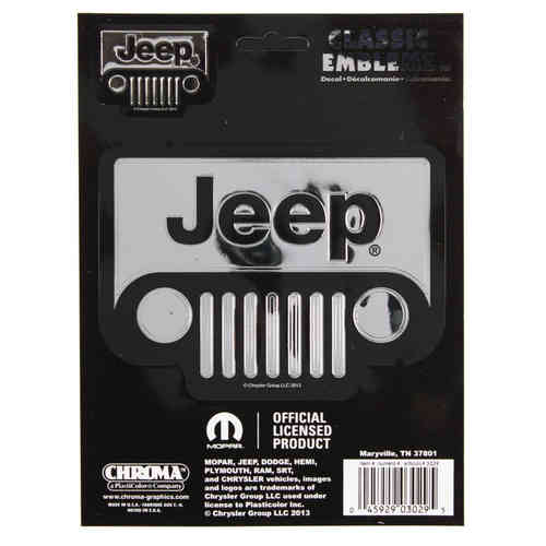 """Jeep Front"" - Chrom Aufkleber/Decal"
