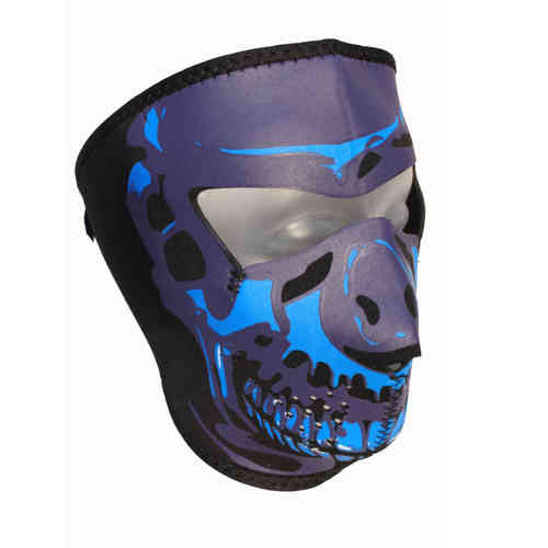 """Blue Chrome Skull"" Neopren Face Mask"