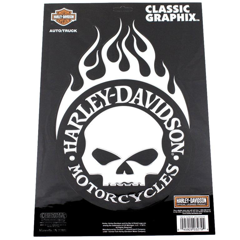 harley davidson motorcycle flame skull chrom emblem. Black Bedroom Furniture Sets. Home Design Ideas