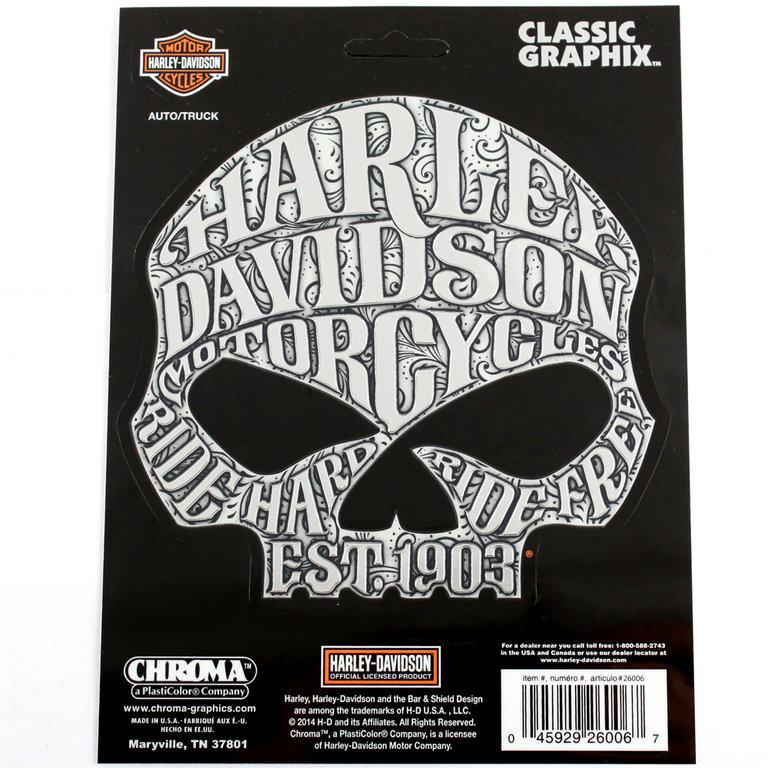 biker harley davidson hd sugar skull logo chrom emblem. Black Bedroom Furniture Sets. Home Design Ideas