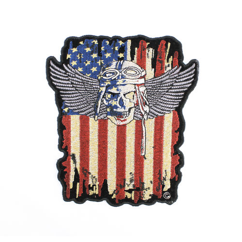 """Distressed American Flag Winged Skull"" - Aufnäher/Patch"