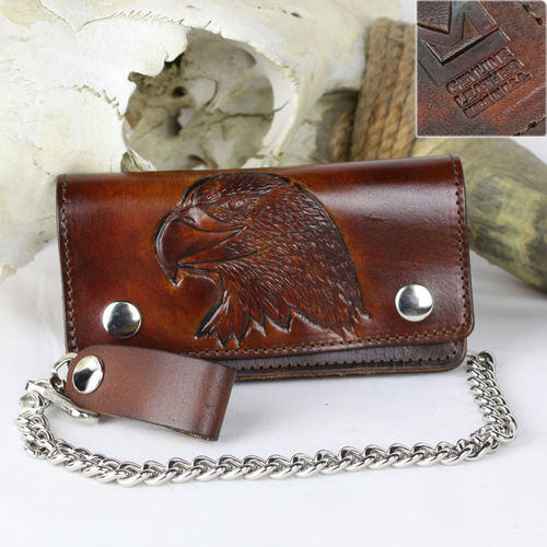 """Biker Wallet Antik Finish Eagle"" Echt Leder Wallet - Geldbörse"