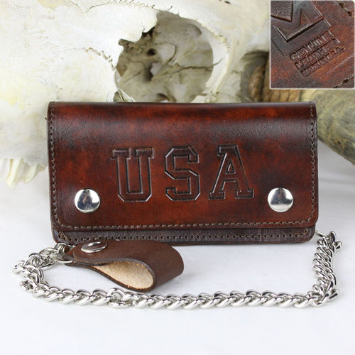 """Biker Wallet Antik Finish USA Flag"" Echt Leder Wallet - Geldbörse"