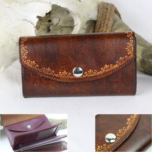 """Damen Organizer Border Scroll Antik Finish"" Echt Leder Wallet - Geldbörse"
