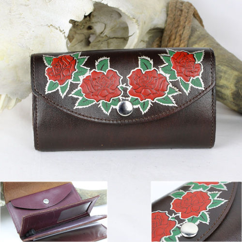 """Damen Organizer Red Roses Antik Finish"" Echt Leder Wallet - Geldbörse"
