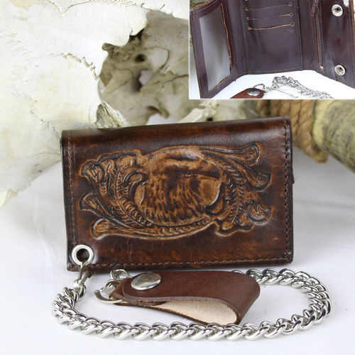 """Eagle Head Scroll Tri-Fold Antik Finish"" Echt Leder Wallet - Geldbörse"