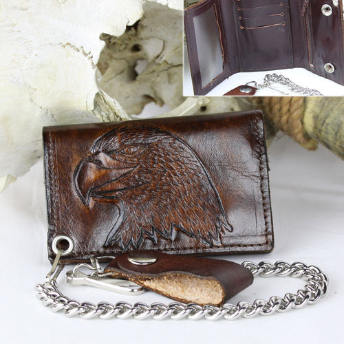 """Large Eagle Tri-Fold Antik Finish"" Echt Leder Wallet - Geldbörse"