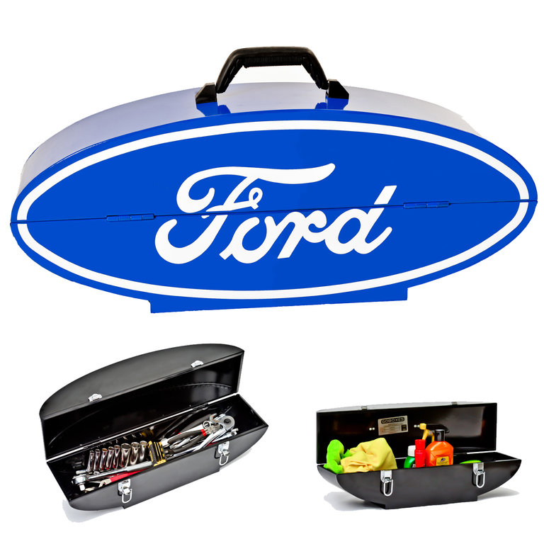 Ford logo blau us car toolbox kiste werzeugkiste kasten for Garage ford auch