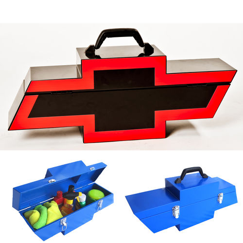 """Chevy Bowtie Shaped Black w/ Red""  Steel Toolbox - Werkzeugkiste"