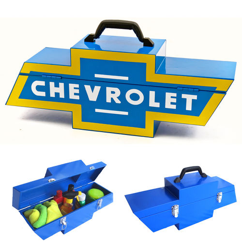 """Chevy Bowtie Shaped Blue w/ Yellow""  Steel Toolbox - Werkzeugkiste"
