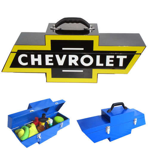 """Chevy Bowtie Shaped Black w/Yellow""  Steel Toolbox - Werkzeugkiste"