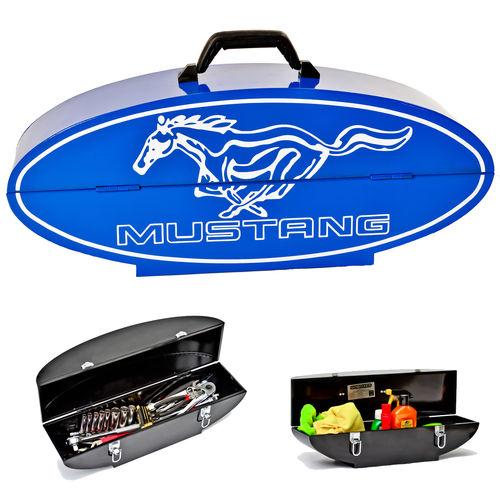 """Ford Mustang Oval Shaped Blue""  Steel Toolbox - Werkzeugkiste"