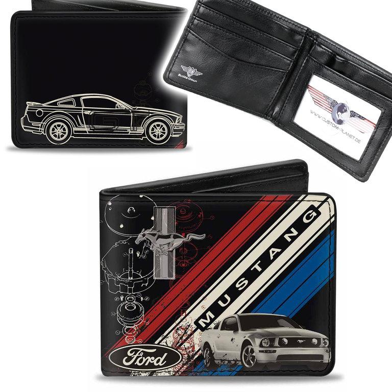 Mustang GT Pony Tri Bar Logo Börse Wallet Kette Geldbörse Portemonnaie US CAR