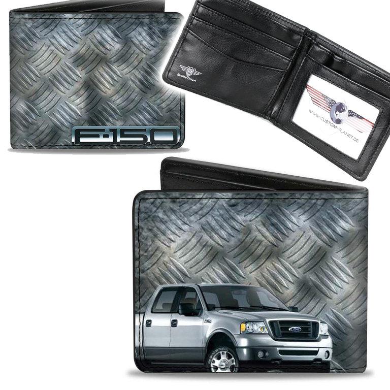 US Ford Oval Pflaume Logo Börse Wallet Kette Geldbörse Portemonnaie Kunstleder