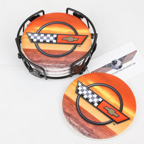"""Sunset Corvette C4"" Ceramic Drink Coaster Set - Untersetzer"