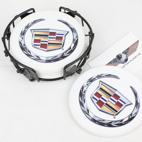 """Cadillac Logo"" Ceramic Drink Coaster Set - Untersetzer"