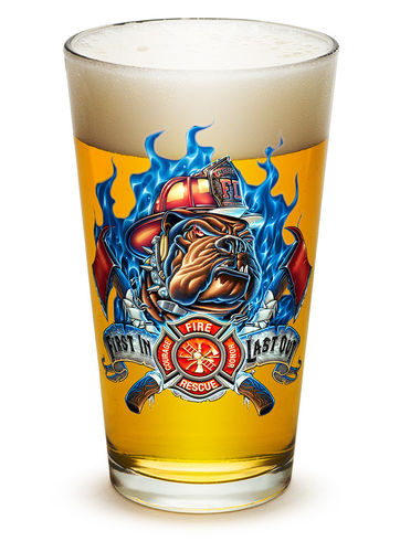 """First In Last Out Firefighter"" Pint Glass - Glas"